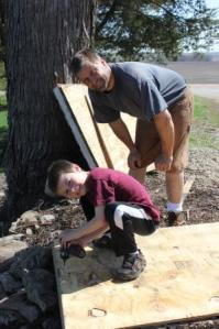 On May 11, we built the last few pallet gardens. Keith helped Steve finish building the last few.