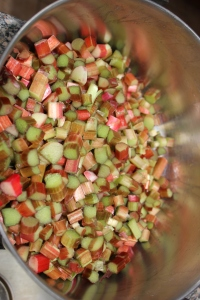 A view of what the rhubarb will look like after cutting it up.
