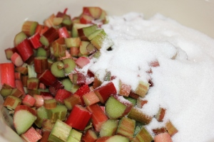 Mix together 6 cups of sliced rhubarb with 3 cups of sugar.