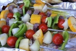 Grill kabobs, covered, over medium heat for 10-15 minutes or just until vegetables are tender, turning frequently.