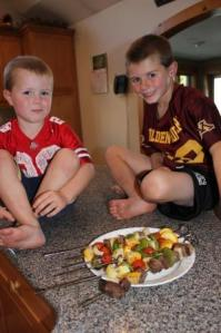 The boys each tried the kabobs. Some of the vegetables they liked and some they didn't. But they both tried new vegetables that they hadn't tried before. I call that an achievement.
