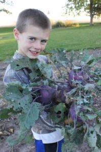 Keith wanted to shred his giant kohlrabi experiment. They think it is so cool to shred the different vegetables.