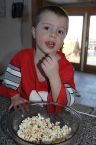 "I melted about 1 Tablespoon of butter and a little bit of salt. The result a happy boy. We also enjoy ""treasure hunt"" popcorn which is simply a few M&Ms sprinkled in to the popcorn. This is a family favorite for movie night or watching football games."