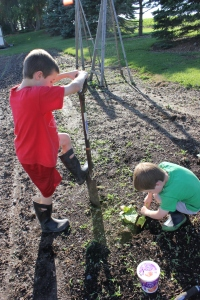 Keith and Sam burying egg shells