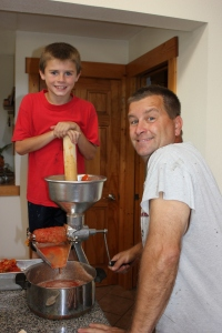 We juiced some of our tomatoes using the juicer from Steve's grandparents. We use this juice to make spaghetti and pizza sauce throughout the year and my  parents enjoy the tomato juice.