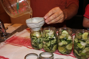 Many people I know use an ice cream pail with a lid for their refrigerator pickles. We decided to use jars, so that we could give them away as gifts and store them more easily in our refrigerator. When filling the jars, we used a knife to help encourage the cucumbers into the jars.