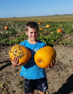 The boys had a great time harvesting your name pumpkins.
