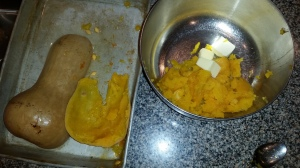 1. Using a butcher knife, split the squash in half lengthwise. Place in a cake pan, put about 1/4 - 1/2 inch of water. Cover with aluminum foil and bake for at least an hour at 350 degrees Fahrenheit. 2. Remove from oven. peel off the skin using a knife or turn it over and scoop out cooked squash. Scoop out and remove the seeds - discard (seeds could be cooked using a pumpkin seed recipe). 3. Place cooked squash in bowl with 1/2 cup of stick butter and 3/4 cup of brown sugar. Mix and enjoy.