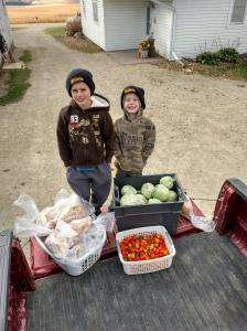 This week, we finished the last of the harvest before the freeze warning. We then donated 17 chickens, 60 pounds of cabbage and a huge basket of Habenero peppers to the food shelf.