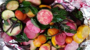 Many of you have mentioned that you like to put your veggies on the grill. I simply combined a variety cut into 1/4 inch slices, drizzled with olive oil and sprinkled some Kosher salt and arugula on them. The beets added a beautiful color to the dish.