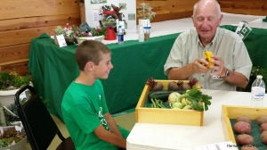 Preparing for the vegetable project was a challenge as we didn't quite know how to properly display the vegetables for a blue ribbon display. After looking at the vegetable and potato displays last year, Keith said he wanted to bring them. He was very nervous for this judging, but as you can see he enjoyed his discussion with the judge who was very helpful in helping us both understand the vegetable project and potato project. Keith was ecstatic to receive Reserve Champion in his potato project and Honorable Mention with his Vegetable Project.